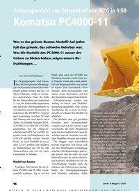 Titelbild der Ausgabe 2/2020 von Titelgeschichte: Schwergewicht aus Düsseldorf von NZG in 1:50 Komatsu PC4000-11. Zeitschriften als Abo oder epaper bei United Kiosk online kaufen.