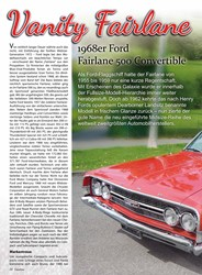 Titelbild der Ausgabe 5/2019 von Vanity Fairlane: 1968er Ford Fairlane 500 Convertible. Zeitschriften als Abo oder epaper bei United Kiosk online kaufen.