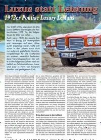 Titelbild der Ausgabe 2/2020 von luxus statt Leistung: 1972er Pontiac Luxury LeMans. Zeitschriften als Abo oder epaper bei United Kiosk online kaufen.