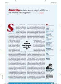 Titelbild der Ausgabe 7/2018 von SOL Y SOMBRA: Amarillo Katalonien: Vorsicht mit gelben. Zeitschriften als Abo oder epaper bei United Kiosk online kaufen.