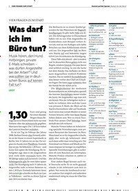 Titelbild der Ausgabe 1/2019 von VIER FRAGEN ZUM START: Was darf ich im Büro tun?. Zeitschriften als Abo oder epaper bei United Kiosk online kaufen.