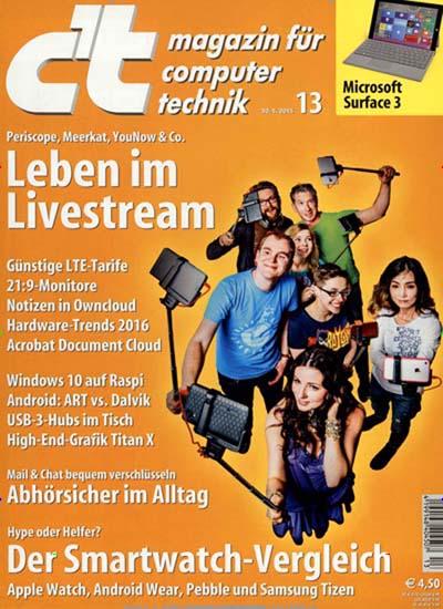 Aktuelles Titelbild von c't Plus. Entdecken Sie jetzt die Ausgabe 13/2015. Lesen Sie gerne Computerzeitschriften, Tabletmagazine und Smartphonemagazine? Dann empfehlen wir Ihnen c't Plus als Abo oder Geschenkabo.