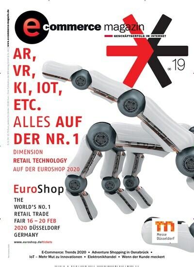 """Aktuelles Titelbild von e-commerce magazin - epaper. In der Ausgabe 6/2019 geht es um die Themen: Editoria: Highspeed-Shopping und Endspurt-Hetzerei – das Jahr ist vorbei…; NEWS: Wissen, was morgen Trend ist; #businessclimatechange: Wie nachhaltig sind Sie? Das wollen wir wissen…; Euroshop 2020 – für Pure Player ein Muss: Von online zu offline:; Elektronikhandel: Das PERFEKTE PAAR; Elektronikhandel: Einer, der auszog, Waschmittel zu kaufen; Trends im E-Commerce: # Trend: Visual Search; Trend: Experience Marketing; Trends im E-Commerce: R: Trend: Augmented Reality; E: Trend: Cloudbasierte Microservices; Trends im E-Commerce: N: Trend: Online Shops; D: Trend: Liquidität; Trends im E-Commerce: S: Trend: Payment; Internet of Things; Logistik: Was bedeutet E-Commerce aus: Sicht der Logistik ?; Vertrieb: Keine Angst vor AMAZON; Lebensmittel- und Getränkehandel: Eine Cloud-Lösung: kurbelt den Vertrieb an; Lebensmittel- und Getränkehandel: Wenn der Milchmann zum Revoluzzer im Lebensmittelhandel wird; Zukunftsweisende Retailkonzepte: """"Wir digitalisieren das komplette Unternehmen""""; Marketing: """"Hallo, hier spricht Ihr Avatar""""; Warenwirtschaftssysteme: OHNE AUTOMATISIERUNG KEIN WACHSTUM; Was tun, wenn der Kunde meckert? Beschwerdemanagement; Reden wir über … """"Traut euch und geht online"""". Lesen Sie gerne Logistikmagazine und Medienmagazine? Dann empfehlen wir Ihnen e-commerce magazin - epaper als digitales Abo (eAbo) und Einzelheft zum sofort Loslesen oder als Geschenkabo zum Vorbestellen."""
