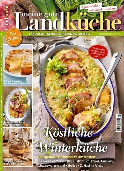 Aktuelles Titelbild von Meine gute Landküche - epaper. In der Ausgabe 1/2019 geht es um die Themen: Köstliche Winterküche; Hausgemacht schmeckt's am besten!. Lesen Sie gerne Kochzeitschriften und Backzeitschriften? Dann empfehlen wir Ihnen Meine gute Landküche - epaper als digitales Abo (eAbo) und Einzelheft zum sofort Loslesen oder als Geschenkabo zum Vorbestellen.